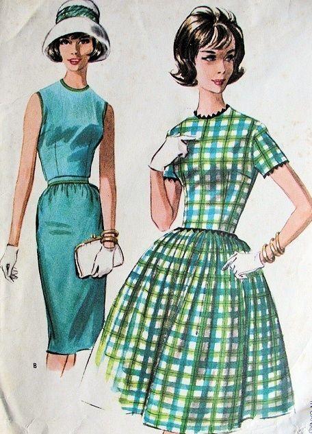 1960s MAD MEN STYLE SLIM or FULL SKIRTED DRESS PATTERN EASY TO SEW  McCALLS 8121 PATTERNSMccall 8121, Dresses Pattern, Full Skirts, Sewing Pattern, 1960S Mad, Sewing Mccall, Easy To Sewing, Mad Men Styles, 8121 Pattern