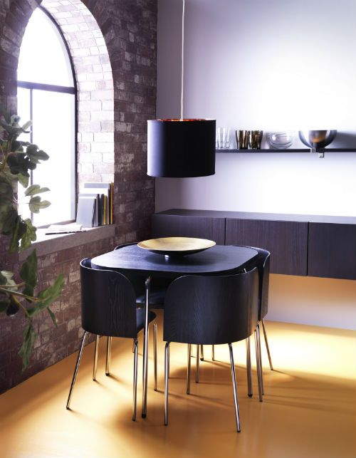 IKEA Fan Favorite: FUSION dining table and chairs. The chair backs are shaped to fit the corners of the table, to save space when the chairs are pushed in.