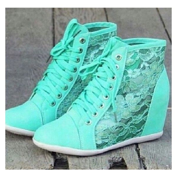 Shoes: wedge sneakers sneakers wedges mint mint blue lace lace wedge... ❤ liked on Polyvore featuring shoes, sneakers, wedge heel sneakers, blue sneakers, wedge heeled shoes, blue trainers and lace shoes