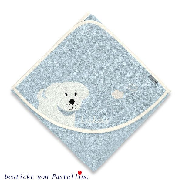 Das sehr süße Kapuzenbadetuch von Sterntaler mit Hund Hardy (ich glaube, es ist ein Labrador) wird von uns individuell mit dem Babynamen bestickt. Auf Wunsch kann auch das Datum eingestickt werden.Aufpreis +4.-€ Das Kapuzenbadetuch ist in der Farbe Himmelsblau