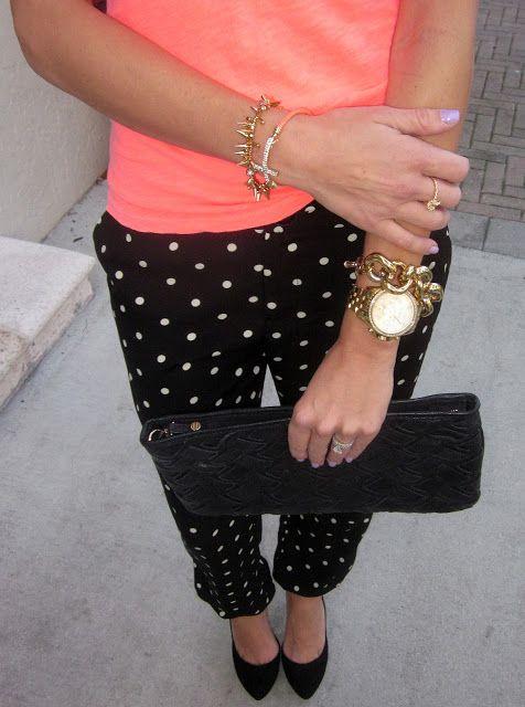 Dots : black polka dot pants, black shoes, and gold.