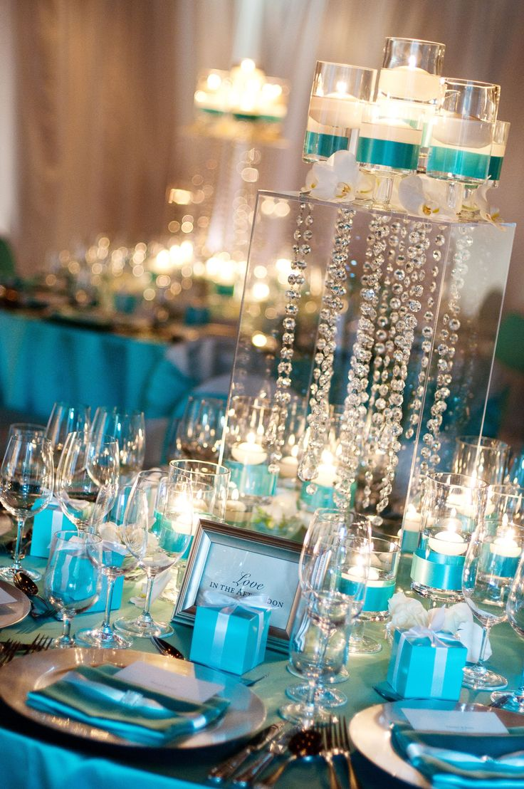 Best Trends For Chic Tiffany Blue Wedding Centerpiece With Candles U0026  Crystals, Posted On August 2014 In Wedding Decor