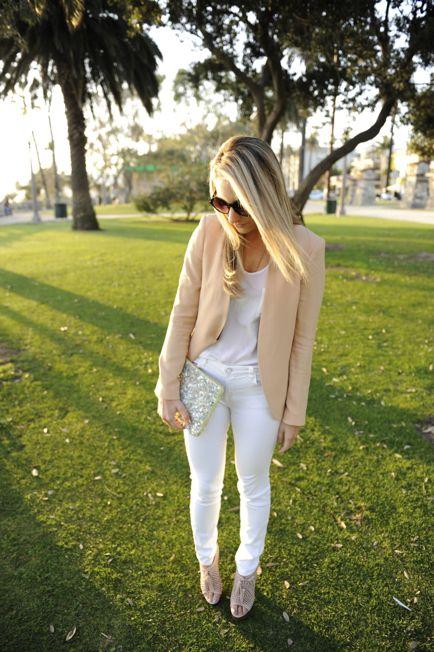 peach blazer + whiteFashion, Style, Peachy Keen, White Pants, Cupcakes And Cashmere, Blazers, Peaches, Spring Outfit, White Jeans