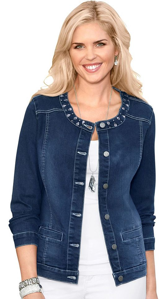 Classic Basics Jeans-Jacke mit effektvollen Glitzersteinchen Jetzt bestellen unter: https://mode.ladendirekt.de/damen/bekleidung/jacken/jeansjacken/?uid=1b2115a3-873c-5c5e-ad5b-b674dc6da5ec&utm_source=pinterest&utm_medium=pin&utm_campaign=boards #kurz #jeansjacken #bekleidung #jacken