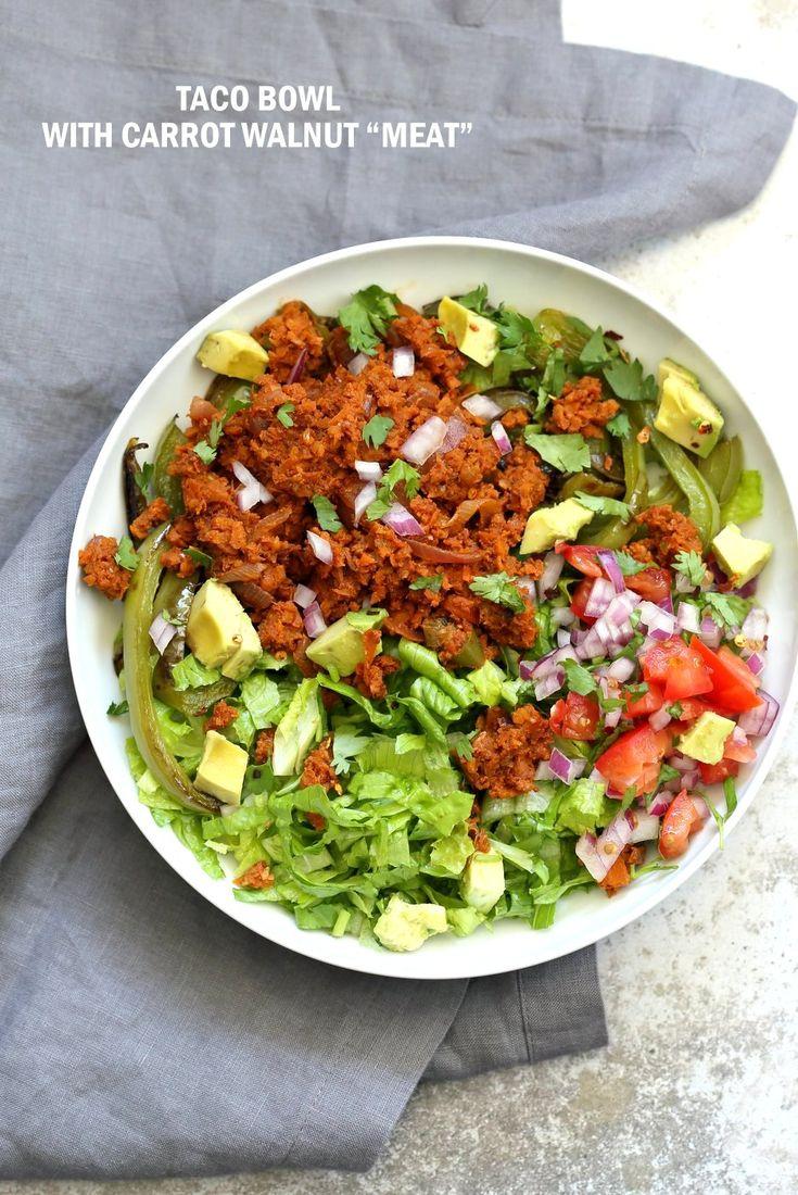 "Vegan Taco Salad Bowl with Carrot Walnut Taco ""Meat"". Vegan Taco filling. Meatless Taco Salad. Make a wrap or tacos or burrito. Vegan Gluten-free Recipe."