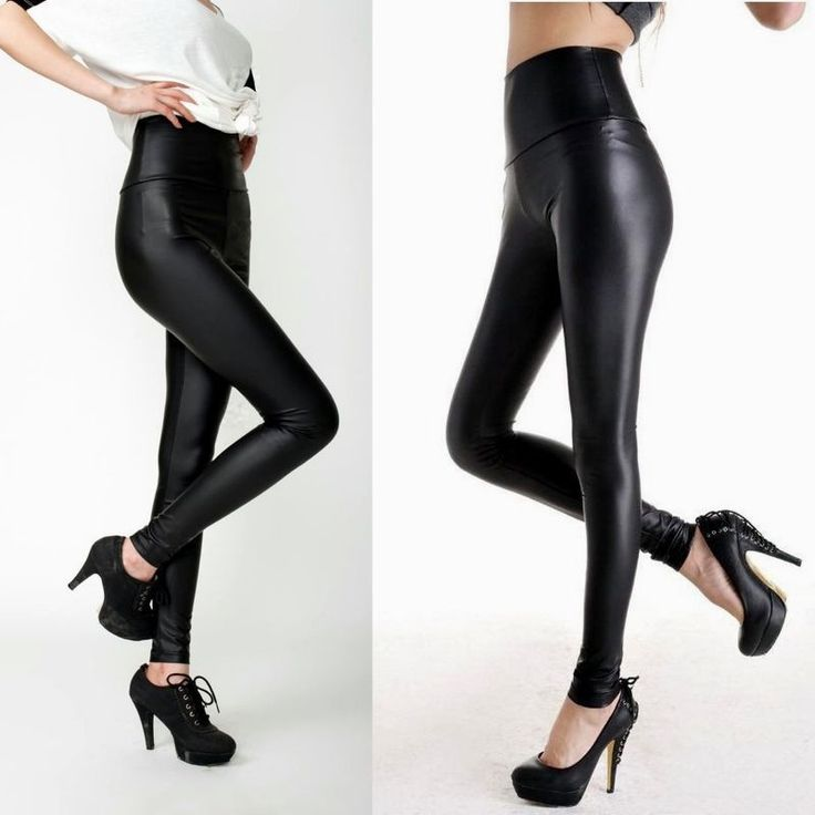 Fashion Sexy Women High Waist Black Stretchy Faux Leather Pants Leggings #Unbranded #PantSet #Leggings #Tights