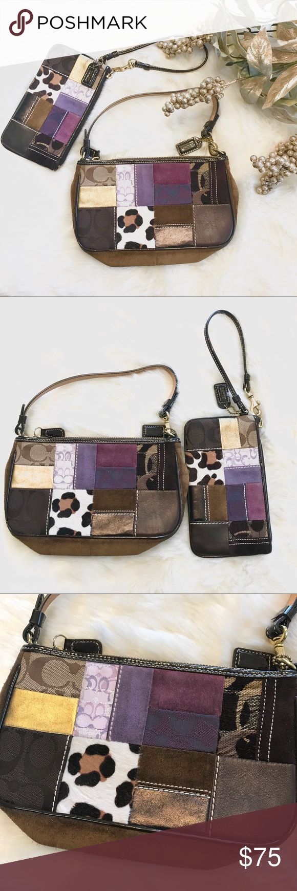 """Coach Patchwork Animal Print Demi bag & wristlet These two beauties are in wonderful Pre-loved condition. The demi bag features chocolate suede trim, a patent leather handle, beautiful animal print, suede and signature C patchwork body and a purple interior with one pocket. The wristlet also features a patent leather handle and purple interior. The suede does have some wear but is overall in great condition. Demo bag stats: drop: 6"""". L: 8""""/ W: 2""""/ D: 6"""". Wristlet: 6"""". L: 7""""/ D: 4""""   Each bag…"""