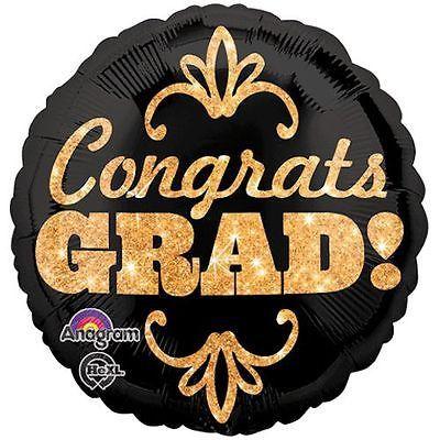 Gold Glitter Congrats Grad Balloon Bouquet