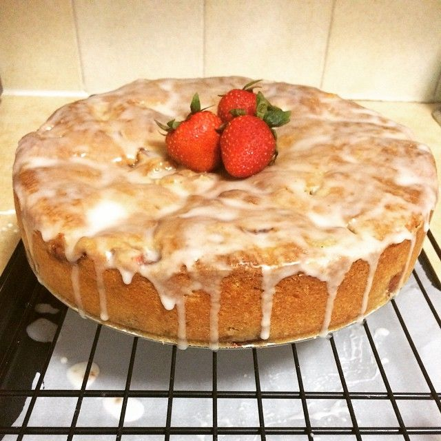 Strawberry Yogurt Cake with a lemon glaze.