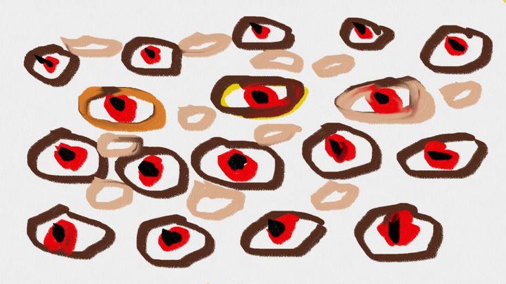 Art Brut Werk, von einem an paranoider Schizophrenie leidenden Menschen gemalt