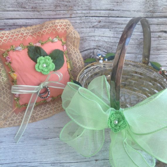 Flower Girl Baskets Green : Shabby sale mint green and coral flower girl basket