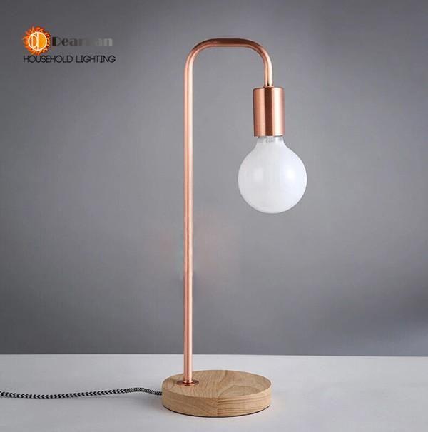 Wood Read Table Lamp Oak Wood Light Modern Industrial Lamp Bell Jar Study Lamp Lining Lamp