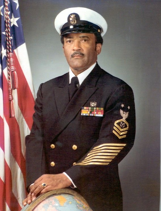 "MCPO Carl Brashear (1931-2006). He was the first African-American to graduate from the Diving & Salvage School and to become a Navy Diver. Later in his career he lost a leg and became the first-ever amputee to be certified (or re-certified) as diver. In his final first; he was the first African-American Navy Master Diver. His life has been made into a movie, ""Men of Honor"", in which he was portrayd by Cuba Gooding, Jr."