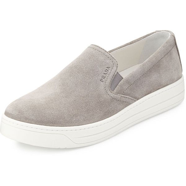 Prada Suede Slip-On Sneaker (735 CAD) ❤ liked on Polyvore featuring shoes, sneakers, acciaio, platform trainers, slip on trainers, suede leather shoes, platform sneakers and pull on sneakers