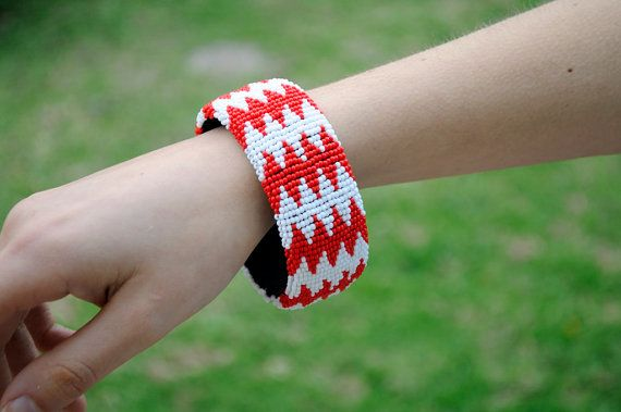 Red and White BangleAfrican Beaded Cuff by akwaabaAfrica on Etsy
