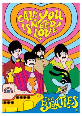 BEATLES All you need is love - artistic poster - manifesto artistico - vintage rock poster creations - cartoon yellow submarine. €10,00, via Etsy.