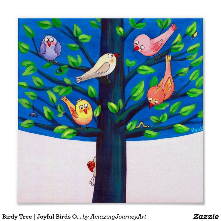 Birdy Tree | Joyful Birds On A Tree Nursery Poster