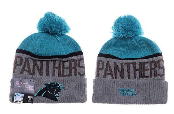 Mens / Womens Carolina Panthers New Era Vivid Team Graphic Cuffed Sport Knit Beanie Hat With Pom Pom - Grey / Teal