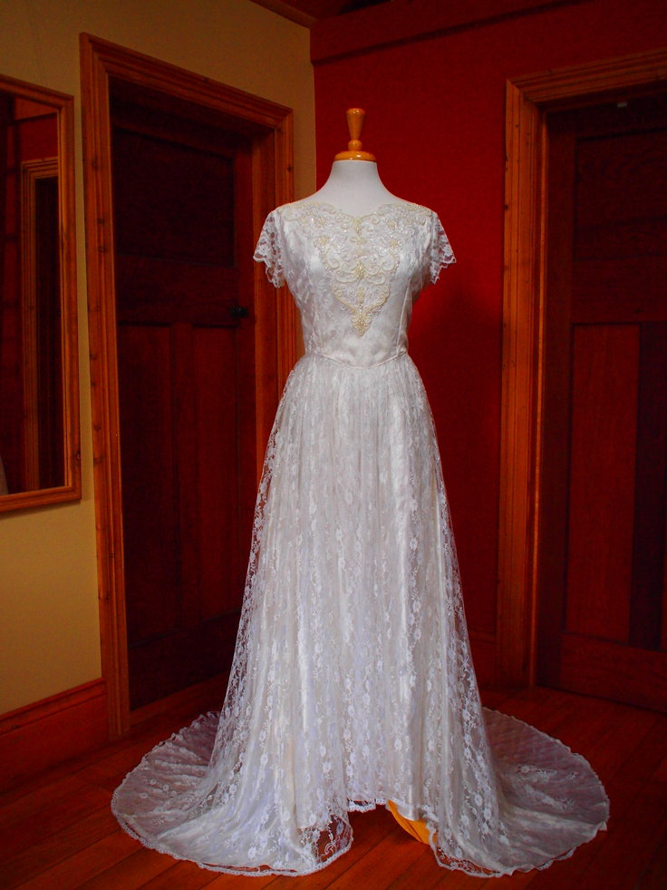 Ivory Lace and a Cathedral Train - Adore a Grace of Autumn Vintage Wedding Gown