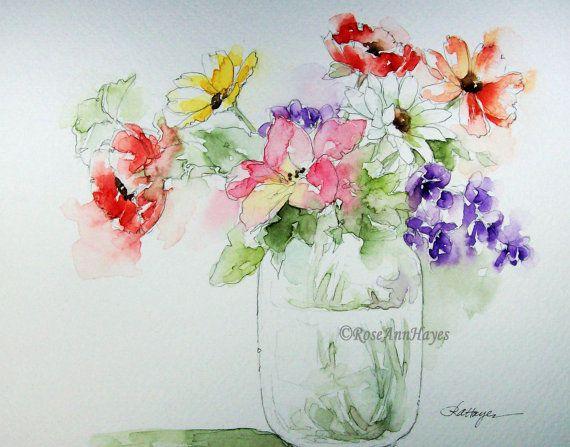 Bouquet misto in stampa di vetro vaso di fiori dipinto ad acquerello