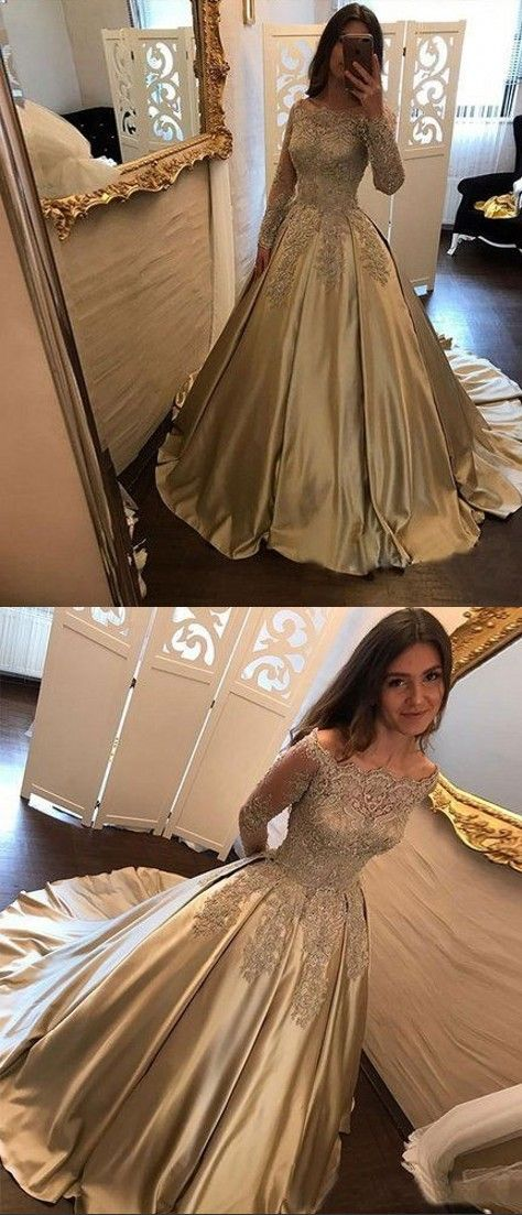 74f796c7c07 Ball Gown Long Sleeves Lace Prom Dress