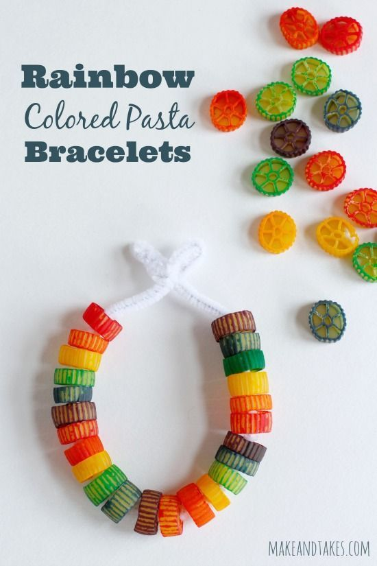 Rainbow Colored Pasta Bracelets Kids Can Make!