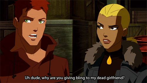 Look at Artemis' face! She's like 'Seriously?' //wally //spitfire // young justice
