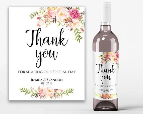 Printable Wedding Wine Labels Thank You Wine Label Thank You Etsy Wine Bottle Labels Wedding Wedding Wine Labels Bridal Shower Wine Label
