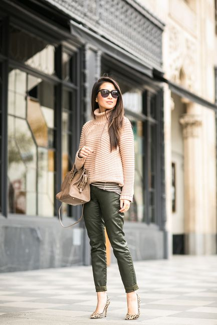 Olive :: Coated pants & Chunky knits :: Outfit ::  Top :: Mason by Michelle Mason sweater , Burberry striped top Bottom :: Banana Republic Bag :: YSL Shoes :: Gianvito Rossi Accessories :: Karen Walker sunglasses, BaubleBar ring Published: December 12, 2014