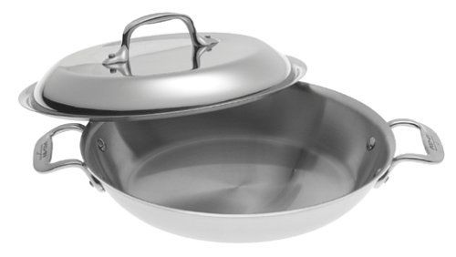 All-Clad Stainless Petite Braiser Pan by All-Clad. $129.95. Beautiful 10-inch round pan with domed lid for braising and serving. Dishwasher safe, but hand washing recommended. Comfortable, stay-cool handles riveted for strength. Lifetime warranty against defects. Three-ply: stainless-steel layers sandwich pure aluminum core for even heating. Amazon.com                The bestseller among All-Clad's renowned cookware collections,  the Stainless line provides serious an...