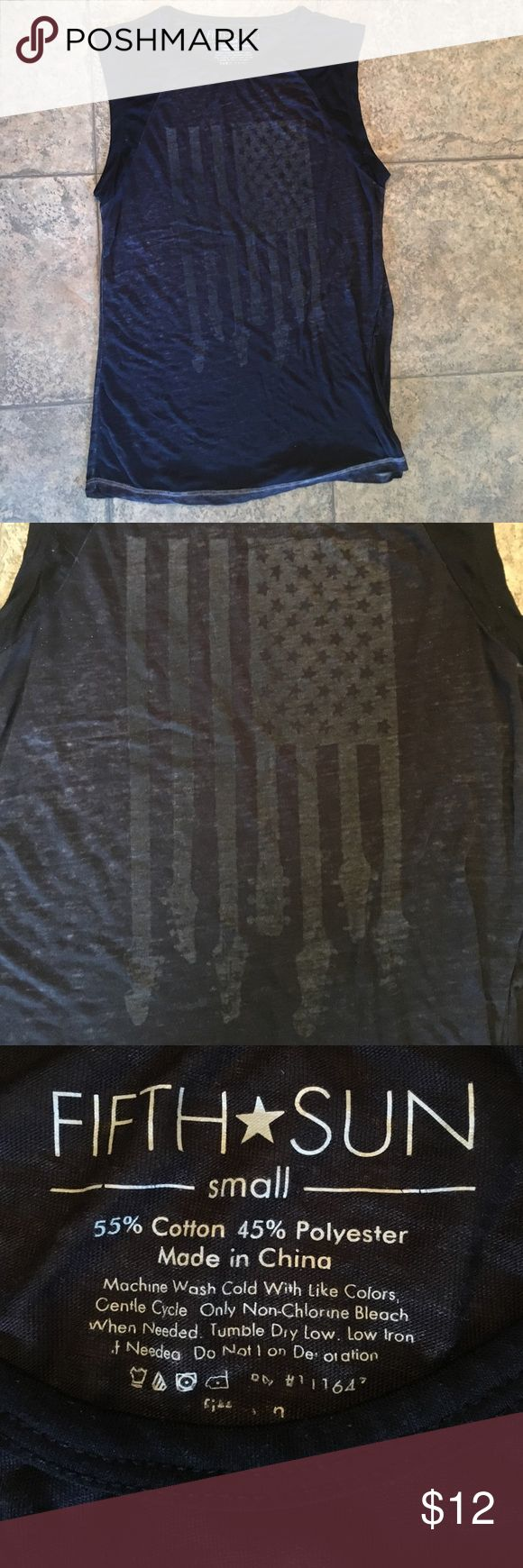 ✔️Fifth Sun see through American flag guitar tank Perfect for over the top of a bikini.. This shirt is see through.. Very light weight.. Awesome flag/guitar design.. Fifth Sun Tops