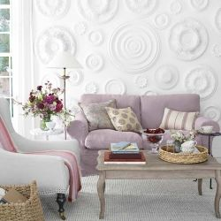 Design Tip: Using Ceiling Medallions as Wall Decor make for a most unusual focal wall!
