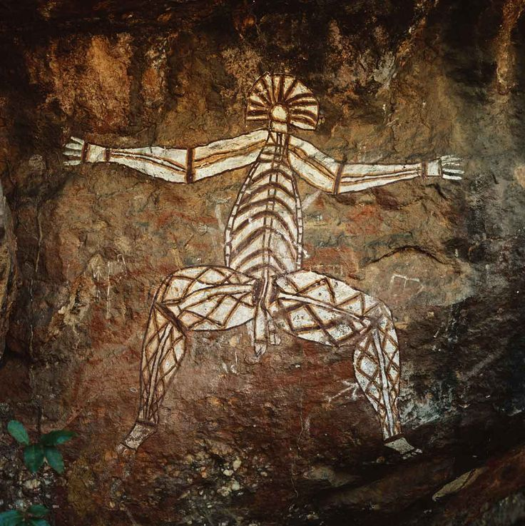 "Rock painting, ca. 6000 B.C.E. © Archivo Iconografico, S.A./Corbis Aboriginal ""x-ray style"" figure. Kakadu National Park, Northern Territory, Australia."