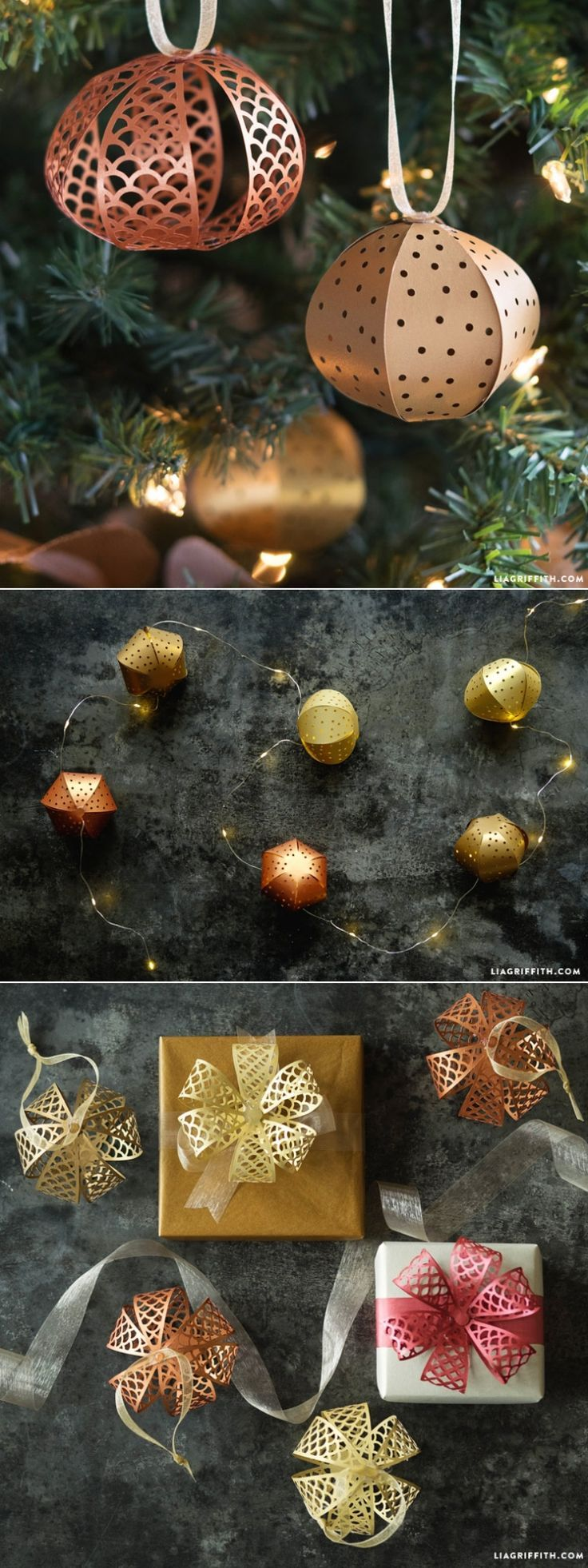 Papercut Christmas Ornaments that can be used as gift toppers or on a string of lights www.LiaGriffith.com #diyholidaydecor