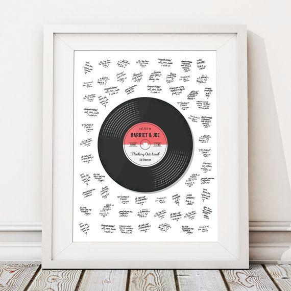 Wedding Song Guestbook Alternative, Wedding Guest Book Alternative, Unique Wedding Guestbook, Personalised Print, Custom Poster Record Vinyl