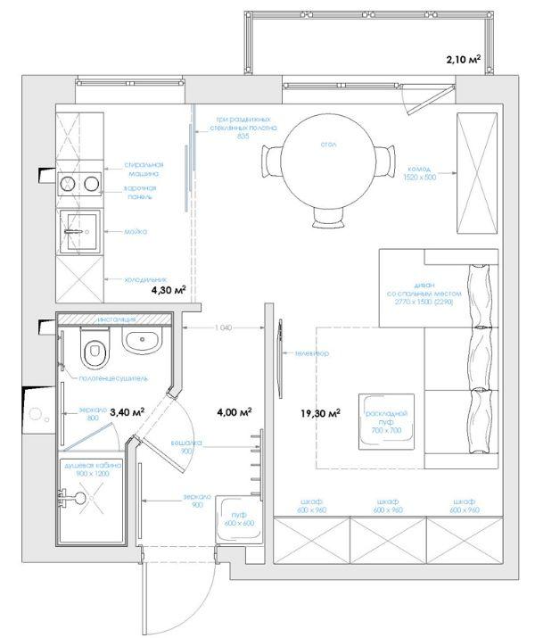 Маленькая студия для одного, 31 кв.м.