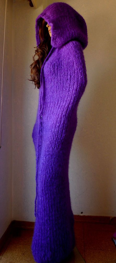 Purple Hand Knitted Long hair Mohair Tube Hooded Fetish, with adjustable openin #HandmadebyLanaKnittings #Hooded