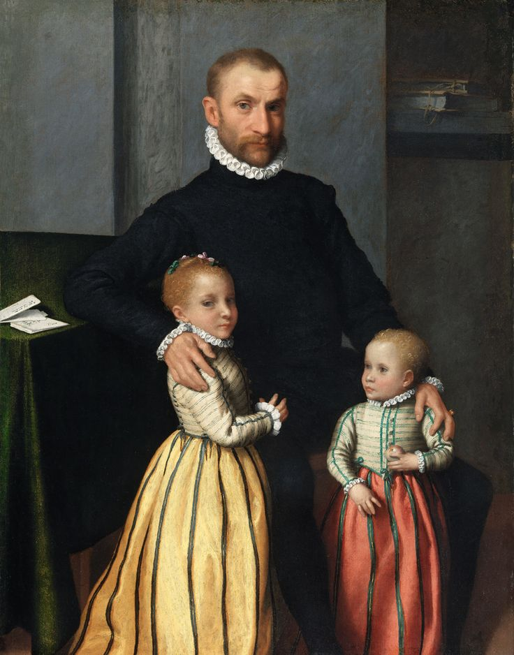 Portrait of a Gentleman and His Two Daughters by Giovanni Battista Moroni around 1572-1575 A.D.