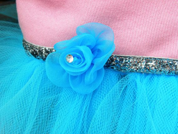 PINK and TURQUOISE Jean Skirt Tutu  3T  Light by EllieGraceCrafts, $17.99