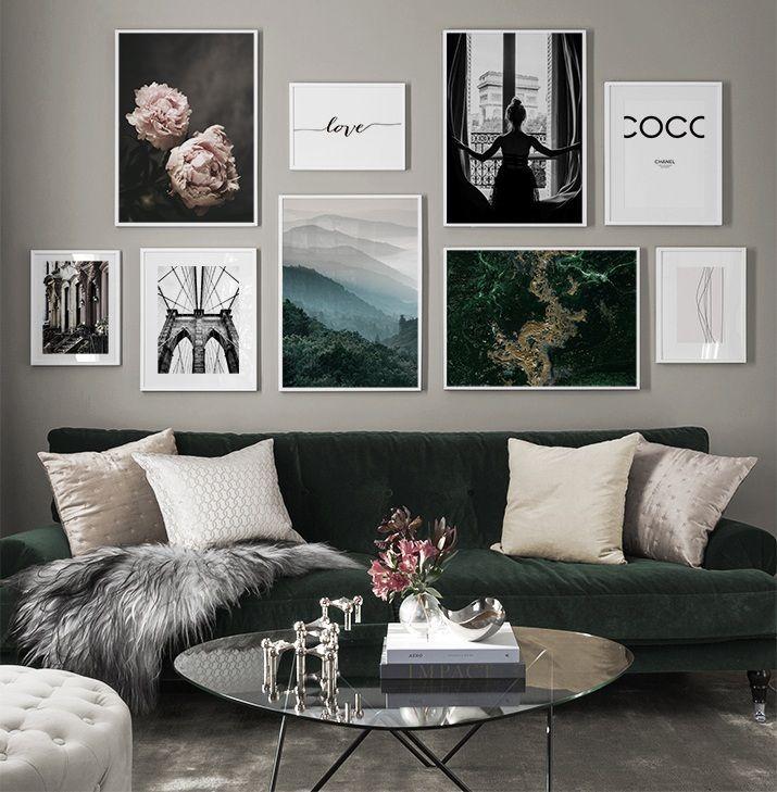 Inspiration Fur Schone Wohnzimmer Bilderwand Mit Postern Living