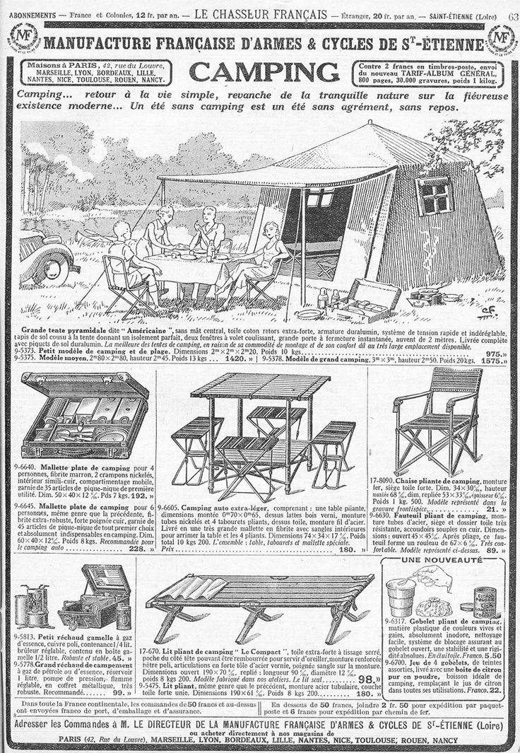 illustration française NB : catalogue Manufacture de St-Etienne, matériel camping 1930s, tente