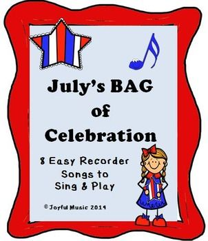 ***$3.00*** This product contains the following: • 8 original BAG songs to Sing and Play o July themed: Out of school, Declaration of Independence, July 4th celebrations, Freedom • Each song is made up of 8 measures of 4/4 Time Signature • Each song contains easy lyrics • Student Copy of 8 songs • Teacher