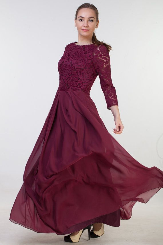 Lace burgundy dress with chiffon skirt. Detachable sash around waist. Dress lenght 150 centimeters, sleeve lenght 40 centimeters.  Model wears size US 6, she is 160 cm tall with 10 cm hills. Her dress is 150 cm long  Please, use this size chart to select your size  US 0 >>> Bust 82 cm (32.5 inches) Waist 64 cm (25 inches) Hips 89 cm (35 inches) US 2 >>> Bust 85 cm (33.5 inches) Waist 66 cm (26 inches) Hips 92 cm (36 inches) US 4 >>> Bust 88 cm (34.5 inches) Waist 68...