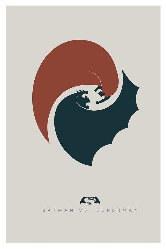 Batman vs Superman Minimalist Poster Inspired by the DC Comics Superheroes