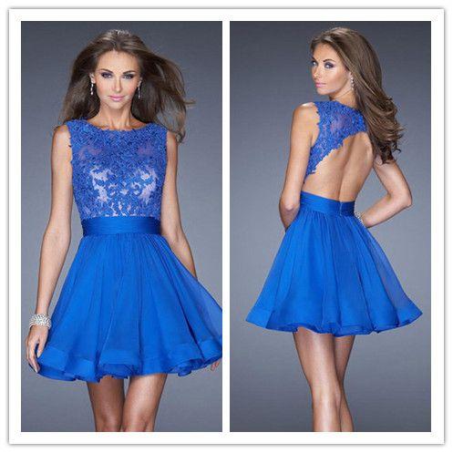 Popular Scoop Lace Chiffon Dark Royal Blue Short Mini Under 100 Homecoming Dresses
