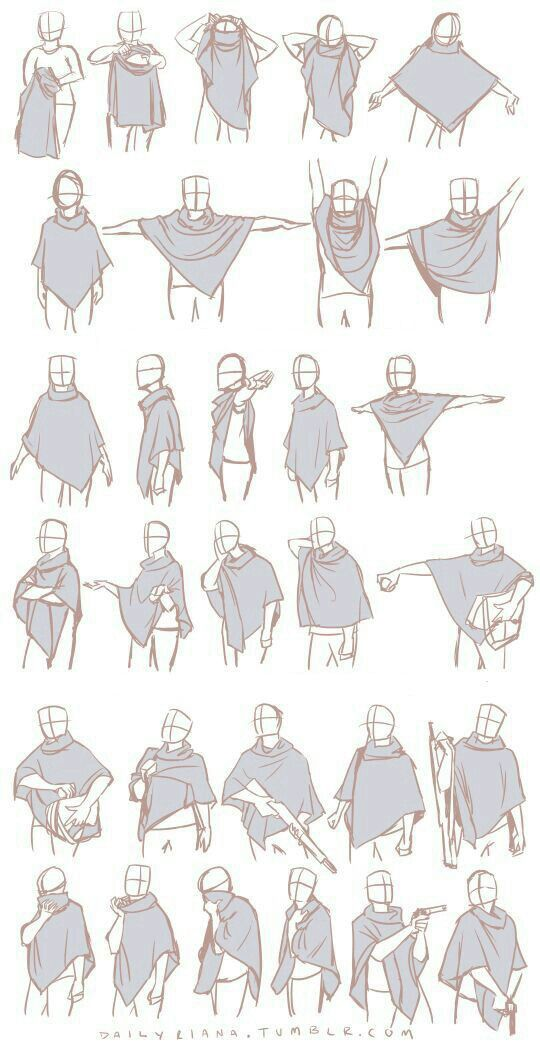 Pose body cloak clothes reference