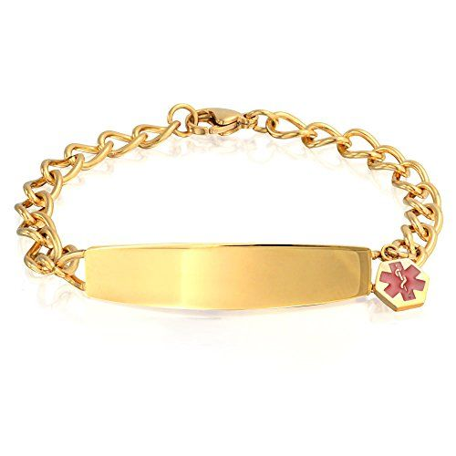 Bling Jewelry Womens Gold Plated Steel Medical Alert Red Enamel ID Bracelet 75in Free Engraving ** Check this awesome product by going to the link at the image.(This is an Amazon affiliate link and I receive a commission for the sales)
