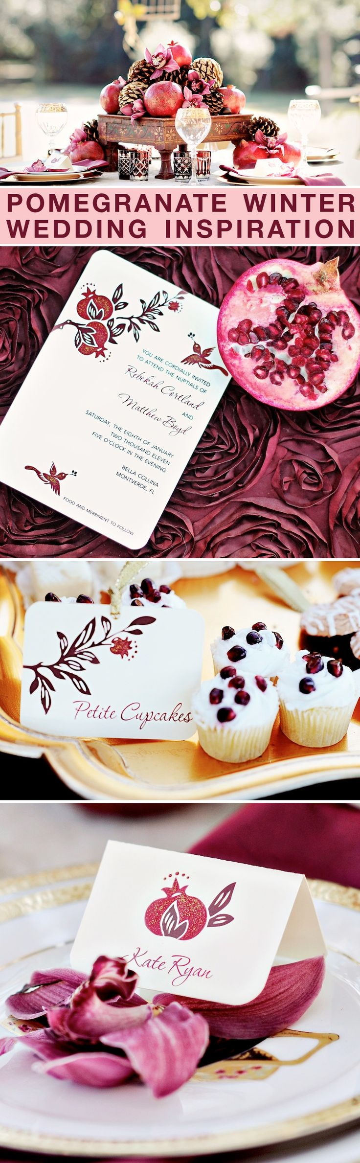 Pomegranate Winter Wedding Inspiration - the perfect red color for weddings during the holiday season