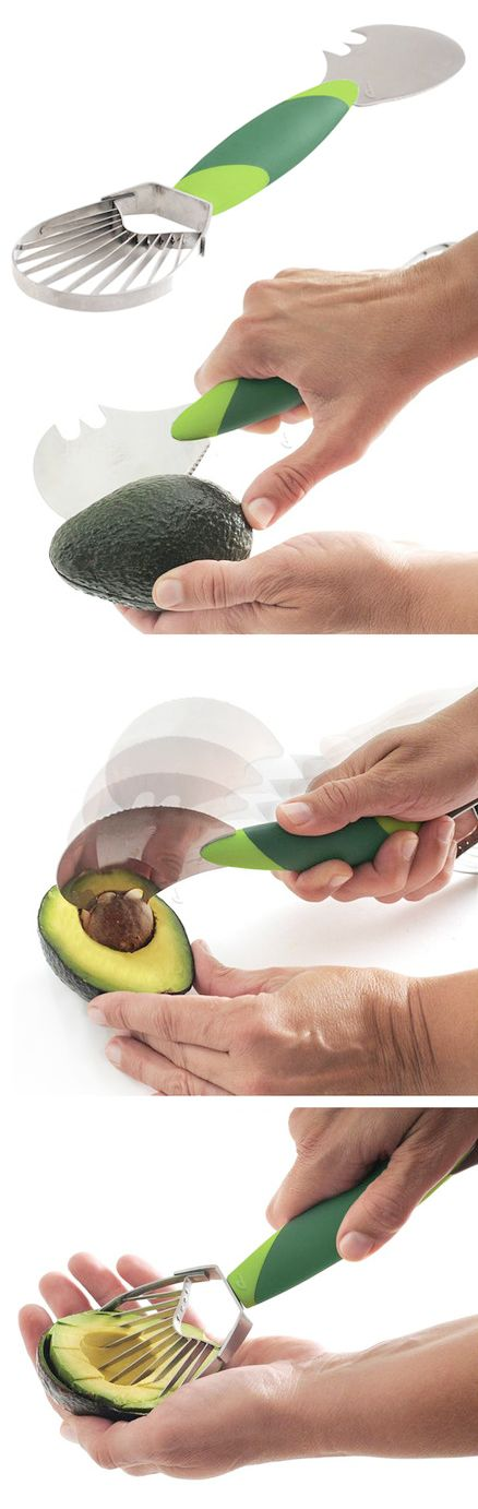 Avocado Tool - Cuts, removes the seed, and slices into perfectly even pieces. I need this.