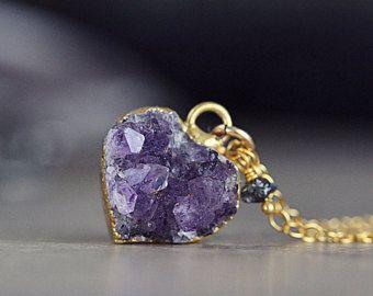 Amatista Collar - Druzy delicada - día de San Valentín regalo - febrero Birthstone - diamante en bruto collar - joyas amatista